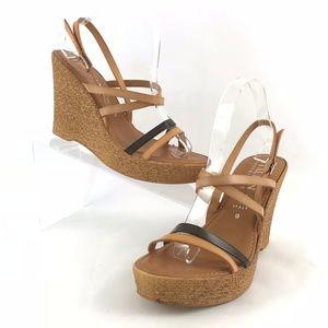 Italian Shoemakers Wedge Heels Ankle Strap Size 9